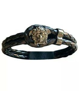 Men's Versace Medusa Leather Bracelet Silver Versace Bijoux