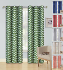2 Ziz Zag Printed Grommet Panels Foam Lined Blackout Window Curtain Treatment