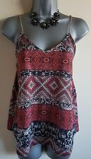 Size 8 Top Red Black Grey Aztec Gold Chain Straps Great Condition Women's Summer