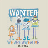 cartoon monster iron on patches heat transfer for diy clothing decor printing