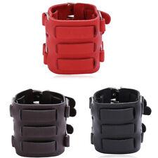 Punk Men Boy Wide Leather Bracelet Wristband Bangle Adjustable Cuff Wrap Jewelry