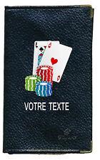 Etui carte grise noir en cuir papiers de voiture permis poker  à personnalise