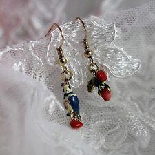 Boucles d`Oreilles Asymétrique Oiseau Perroquet Bourgeon Rose Vert Soirée L2