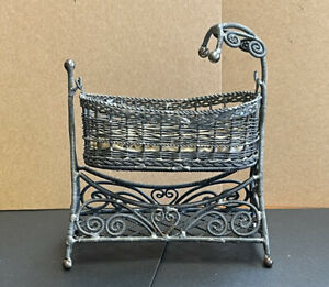 Antique Ornate Dollhouse Miniature Silver Wire Baby Hanging Baby Cradle