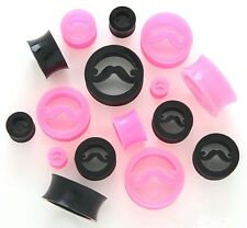 "1 Pair Black Mustache Flex Silicone Ear Skin Tunnels 9/16"" 14mm Plugs Gauges 193"