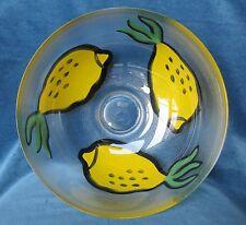 Signed Hand-Painted Lemon Pattern Glass Bowl, Ulrica Hydman-Vallien, Kosta Boda