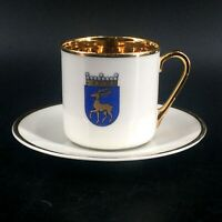 Vintage Arabia White Gold Guilded Stag Coat of Arms Demitasse Cup Saucer Finland