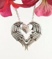 Heart Love Angel Wings Pendant ONLY - Guardian Sterling Silver wh58