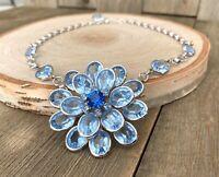 Necklace Blue Crystal Rhinestone Flower Juliana Style Vintage