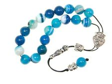 002BA - Loose String Greek Komboloi Prayer Beads Fidget Beads 10mm Blue Agate