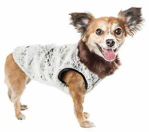 Pet Life  Luxe 'Purrlage' Pelage Designer Fur Dog Coat Jacket, White And Brow...