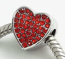 RED CRYSTAL RHINESTONE LOVE HEART Silver European Charm Valentines Day