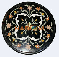 """12"""" Marble Round Top Coffee Table Top Precious Floral Inlay Garden Decors B528"""