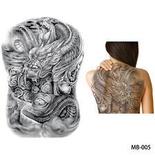 REGNO Unito BIG GRANDE MURO nuvoloso Fortuna Drago Grigio Completo di NUOVO Tatuaggio temporaneo adesivo