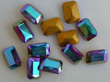 12 Vintage Glass Rhinestones Octagon Smoke Topaz AB TTC Foiled 18x13mm J1-7B