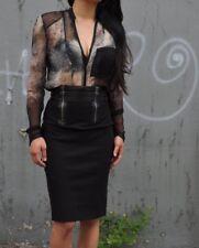 PIERRE BALMAIN Leather Zipper Knee Length Black Business Pencil Skirt 24 38 6 M