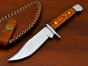 RARE HAND FORGED STAINLESS STEEL HUNTING KNIFE-HARD WOOD HANDLE -PK-1834