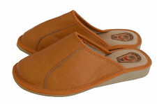 Womens Ladies Natural Leather Slipper Mules Brown Cream Red