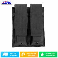 Black Dual Double Stack Pistol Magazines Pouch MOLLE PALS Adjustable Flaps PVC