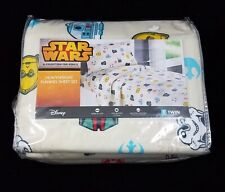 Disney Star Wars Flannel Twin Sheet Set Heavyweight Kohls C3PO R2D2 Vader NEW