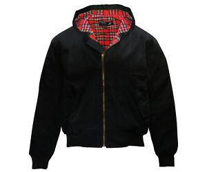 Heavy KB Hooded Black Harrington Jacket Tartan Lined Punk Skinhead Kapuze Jacke