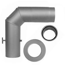 3 tlg. Winkelrohrset Ø 150 mm Grau Ofenrohrset 2 mm Rauchrohr+Drosselklappe+DWF