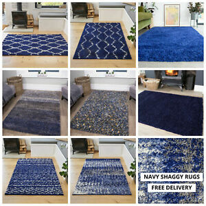 Royal Navy Blue Shaggy Rugs Warm Soft Non Shed Trellis Geometic Living Room Rugs