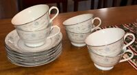 New English Garden 6 Tea Cups & Saucers Fine China 1221 Blue Floral Silver Trim