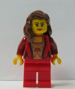 LEGO Female Girl Minifigure Red Outfit Long Brown Wavy Hair Queen Bride Maid