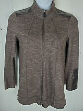 Worth New York Cardigan Zipper Sweatshirt Jacket Long Sleeve Brown Faux-Leather