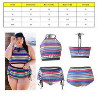 Women Stripe Bikini High Waist Bandage Tankini Beach Bathing Swimsuit Plus Size