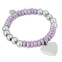 2JEWELS bracciale donna 231367s acciaio cuore elastico lilla brillantino nuovo