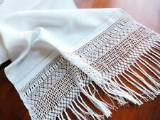 Antique Italian White Linen Runner Lavish Long Handmade Macrame Lace of Liguria