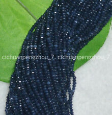 Faceted 2x2mm Dark Blue Sapphire Gemstone Rondelle Loose Beads 15''