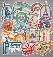 Country Label & World Travel Vinyl Decal Stickers Pack Luggage Skateboard Laptop