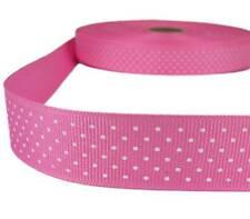 "5 Yds Pink White Confetti Swiss Tiny Polka Dot Grosgrain Ribbon 1""W"
