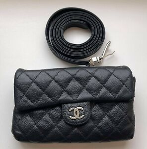 CHANEL UNIFORM BAG ON BELT LEATHER BLACK Quilted Caviar Waist Bum Bag LOGO RARE