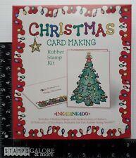Inkadinkado Rubber Stamps Merry Christmas Card Making Kit Tree Lights Ornaments