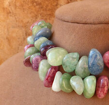 RAINBOW QUARTZ CRACKLE BEADS AQUA PINK BLUE JADE GREEN GOLD STATEMENT NECKLACE