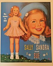 SALLY, SANDRA AND SUE - Darling Mid-Century Vintage Reproduction Paper Doll Book