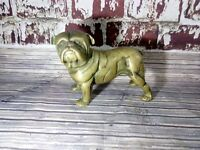 Antique Old Heavy Paper Weight Brass Bulldog Ornament Statue Collectible Dog
