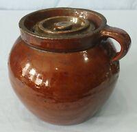 Antique 19th Century Slip Glaze Stoneware Bean Pot 2 Quart