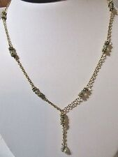 "NECKLACE CUTE ""Y"" STYLE FAUX CRYSTAL GLASS DROPS FANCY BEAD CAP SOHO DESIGNS"