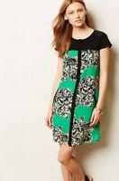 Anthropologie Maeve Sz 0 Ayame Dress Floral Print Silk Dress Green Black