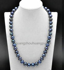 20 inch AAA 9-10 MM SOUTH SEA  Tahitian black blue PEARL NECKLACE  14K GOLD