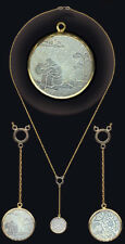 """on14k Rope Chain 19"""" + 2.5"""" 14k Bezel Sm.Rnd.c.1780 Chinese Engraved Pearl Drop"""