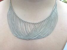 """Sterling Silver Multi Strand Chain Necklace Gorgeous!!! 19"""" Neck Heavy FREE SHIP"""