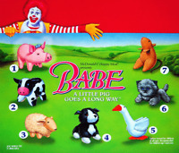 McDonald's Babe 1996 Complete MIP Set of 7 Happy Meal Plush Toys + a Bonus Bag