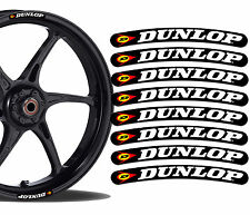 8 Dunlop Rim Stickers Wheel Stripes Set Car Motorbike Motorcycle Racing R54