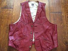 Vtg  FRYE Rust Brown Leather Button Front western lined vest Jacket 44 -XL biker